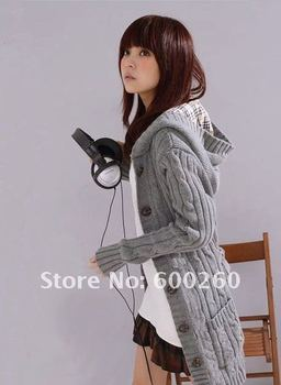 Free shipping New Women's Long SleeveCoat Cardigans trench Sweater + 1 belt 3 Colors#5135