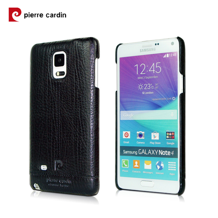 New Arrival Brand Pierre Cardin Genuine Leather Cover Hard Back Case For Samsung Galaxy Note 4