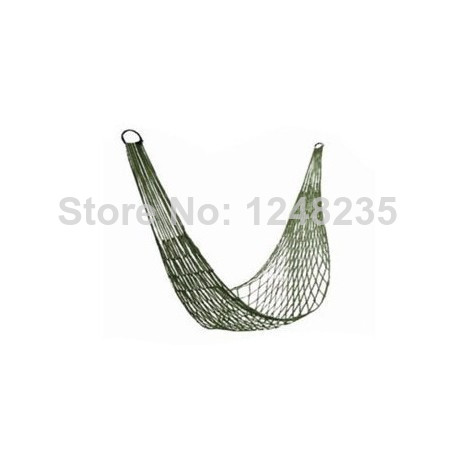 Outdoor Travel Camping Hammock Garden Portable Nylon Hang Mesh Net Sleeping Bed Army Green Free Shipping(China (Mainland))