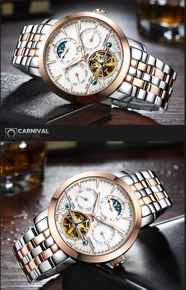 Мода tourbillon часы мужчины Moon Phase серебро Нержавеющая сталь Автоматические механические Сапфир водонепроницаемые часы relogio masculino