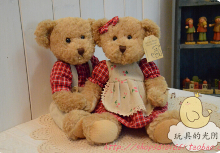 30 cm 2 pieces couple teddy bear with clothes stuffed plush toy high quality valentine gift(China (Mainland))