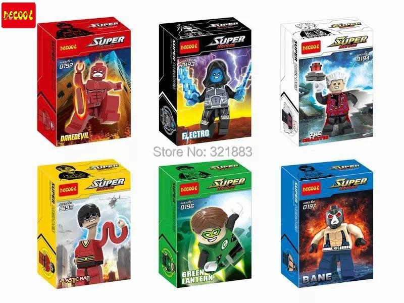 Decool 0192-0197 Super Hero Minifigure Daredvil Electro Bane Green Lantern Flastic Man Building Blocks Action Figure - F & C Store store