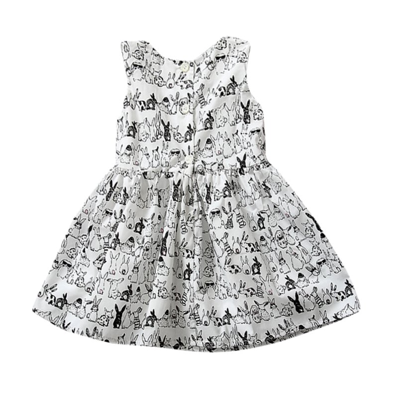 Baby Girl Sleeveless Cartoon Dress Infant White Bunny Rabbit Print Ball Gown Tutu Dress Casual Kids Easter Clothes LH6s(China (Mainland))
