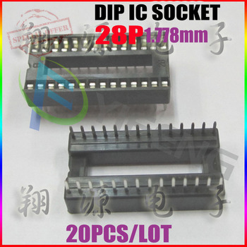 20 PCS 1.778MM DIP-28-Narrow IC SOCKET 28 PIN 28PIN 28P 28 P IC Sockets Adaptor Solder Type , By Registered Air Mail