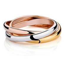 Fashion 3 color rounds band  rings for women men and unisex  stainless steel rings party  jewelry Vnox R-054