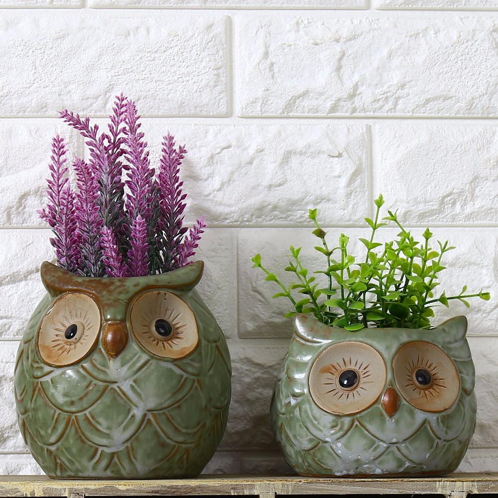 1PC Ceramic Owl Garden Pots Planters Pastoral Style Retro Creative Succulents Nursery Floral Organ Garden Supplies(China (Mainland))