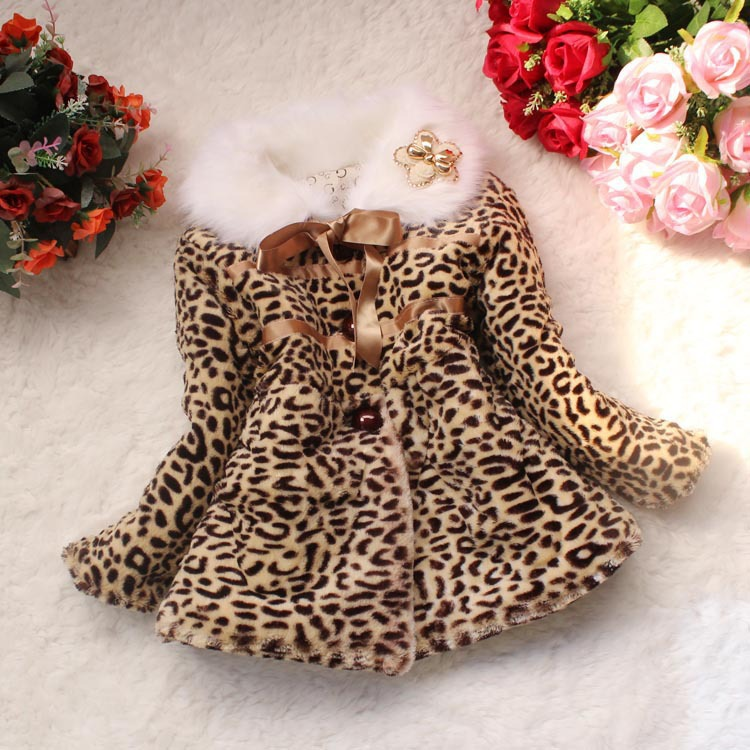 Retail 1PC autumn winter children clothing baby girls leopard print faux fur coat