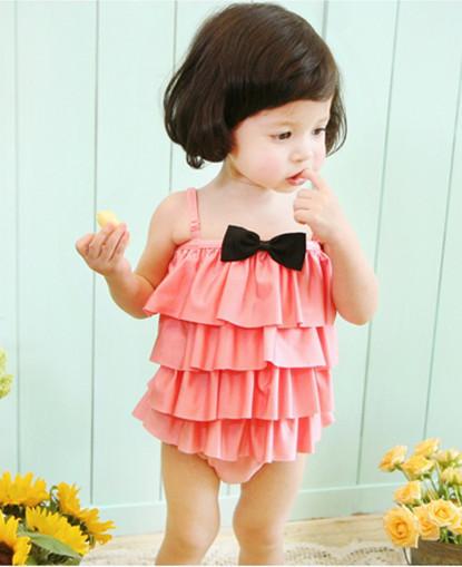 2015 Kids Swimwear Infant Baby Girls Toddler flower Bikini with caps Kids Bathing Suit princess Swimsuit children swim wear(China (Mainland))