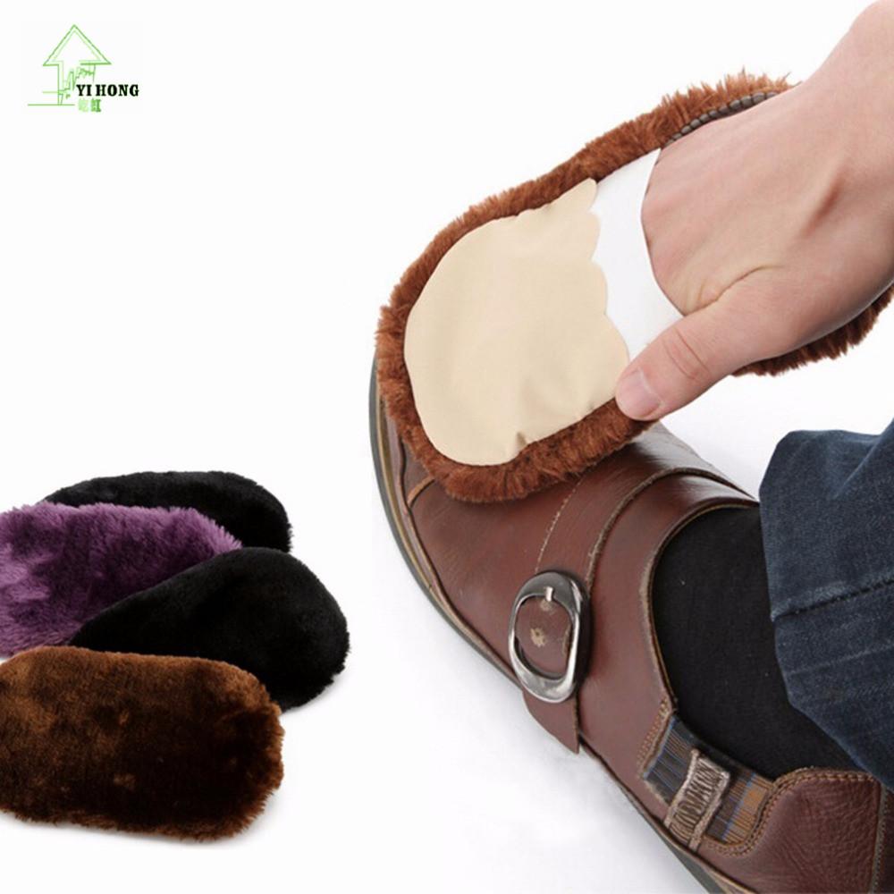 YIHONG Fashion Soft Home Use Shoes Cleaning Gloves High Efficient Cloth Polishing Shoe Brush Imitation Wool(China (Mainland))
