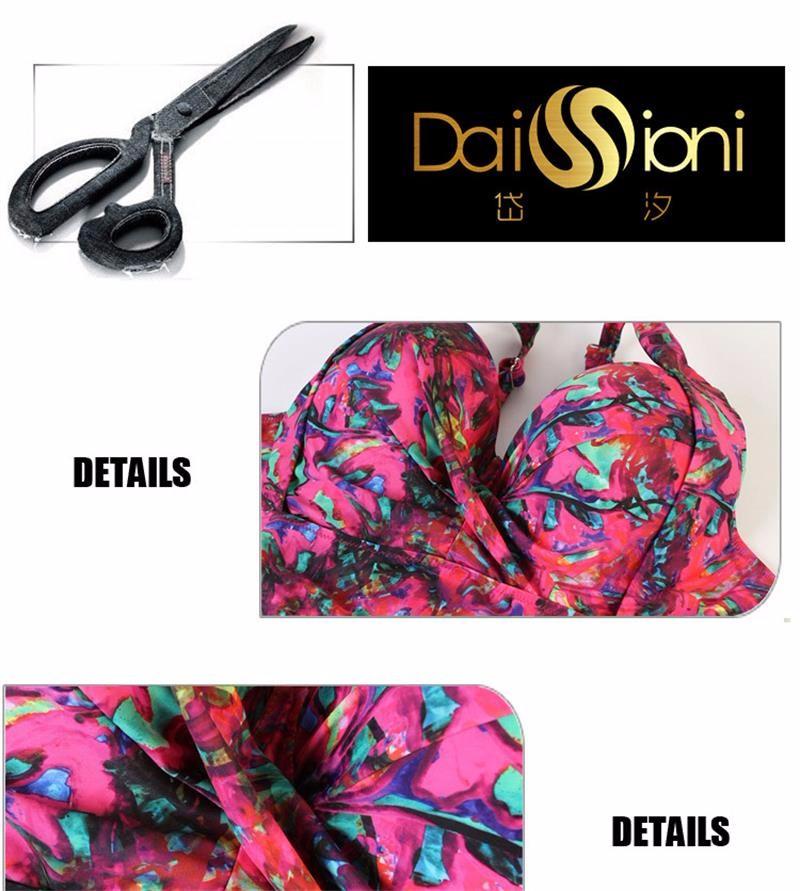 2016 Sexy Monokini Plus Size High Waist Bikini Set Brazil Floral Bathing Suits Push Up Beach Swim Holiday Swimwear Suit XXL-5XL