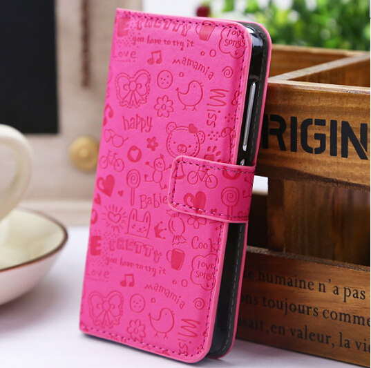 Magic Girl PU Leather Case Cover with Holder &Credit Card Slots For iphones 4 4s,5 Color(China (Mainland))