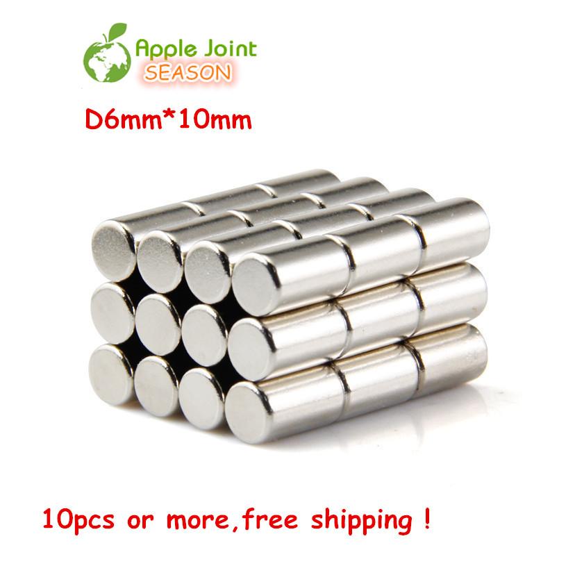 Гаджет  10pcs/Lot 6mm x 10mm WholeSale Craft Model Powerful Rare Earth NdFeB Magnet Mini Size Neo Neodymium N35 Fridge Magnets Fridge None Строительство и Недвижимость