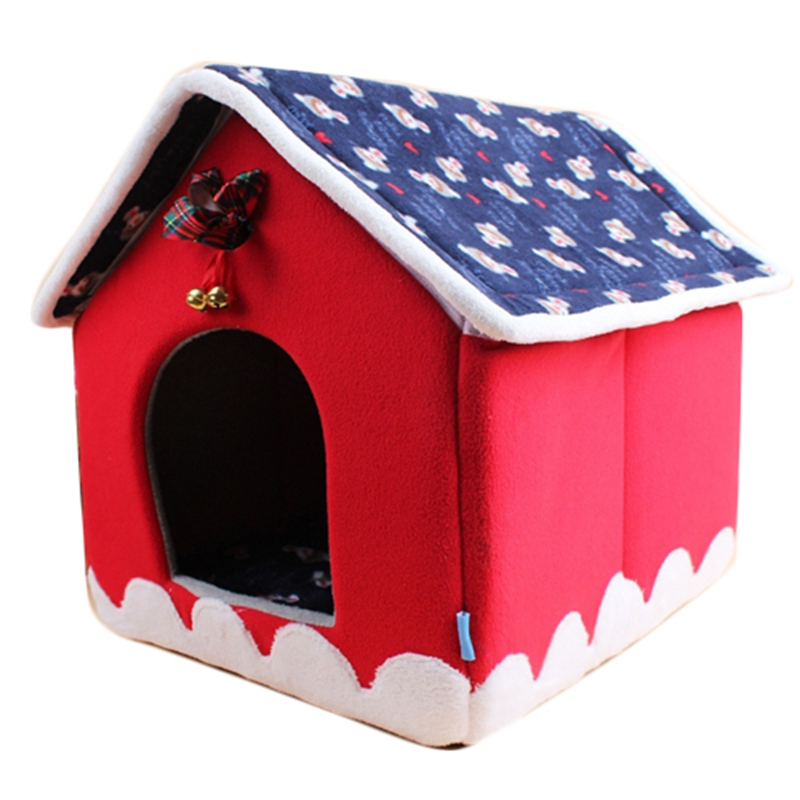 Free Shipping Christmas Pet House Bell Dog Cat Kennel Cat Sleeping Bag Removable Puppy Kitten Bed Lovely Cute Winter/Autumn(China (Mainland))