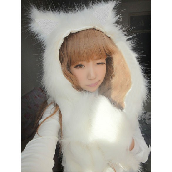 FashionNew  Women Faux Fur Cartoon Cap Hat Scarves Glove Sets Fur Hat Winter Animal Christmas Gift