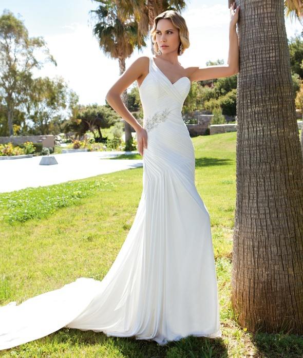 Русалка свадебные платья складки шифона одно плечо пояса спинки халат де свадебная платье невесты свадебные платья на заказ