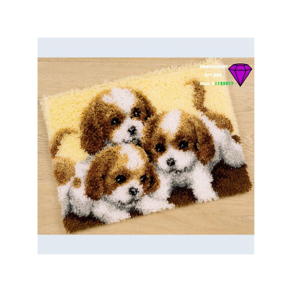 Rug Dogs Embroidery Designs: Embroidery DIY Carpet Picture Dog Handmade Carpet Shaggy