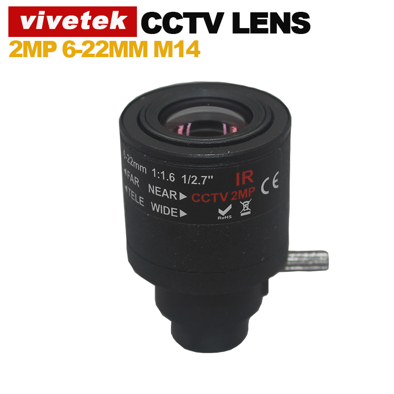 2.0Megapixel M14 HD 6-22mm Varifocal cctv IR HD Lens,F1.6,manual focus zoom,view angle46.4-16.3 degree(China (Mainland))
