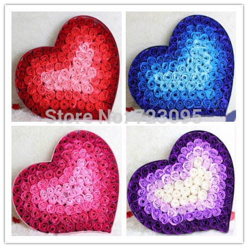 99Pcs/box Heart Rose Soap Flower Toilet Roses Bath Supplies Wedding/Mother Day/Valentine's Day Psoriasis Sabonete Romantic Gift(China (Mainland))