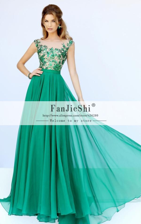 Custom Made Vestido De Festa Floor-Length Cap Sleeve Scoop Neckline Appliques Backless A-Line Evening Dresses 2015 New Arrive - Suzhou FanJieShi Wedding Dress Co., Ltd. store