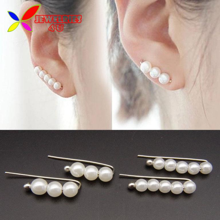 2016 Pearl Earrings Fashion Elegant Silver Wire Faux Pearls Piercing Ear Wrapped Earring for Women bijoux brincos(China (Mainland))