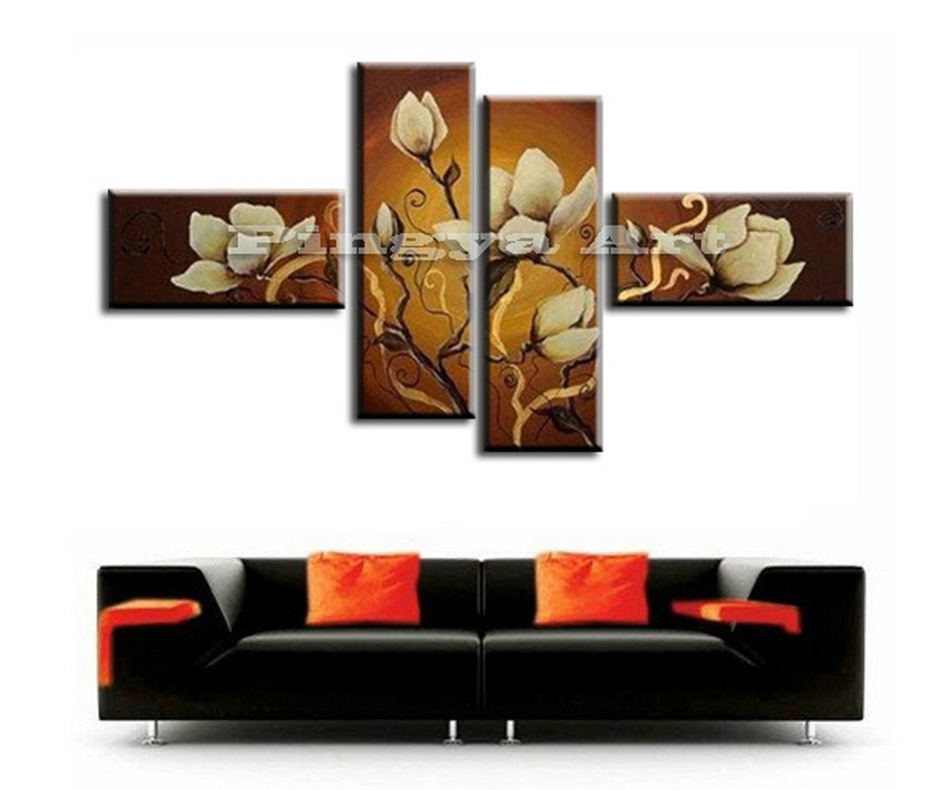 4 piece panel modern abstract canvas wall art deco hand. Black Bedroom Furniture Sets. Home Design Ideas