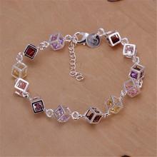 Fine Jewelry Silver Bracelets for Women Pulseras Colorful Cubic Zirconia Bracelets & Bangles (China (Mainland))