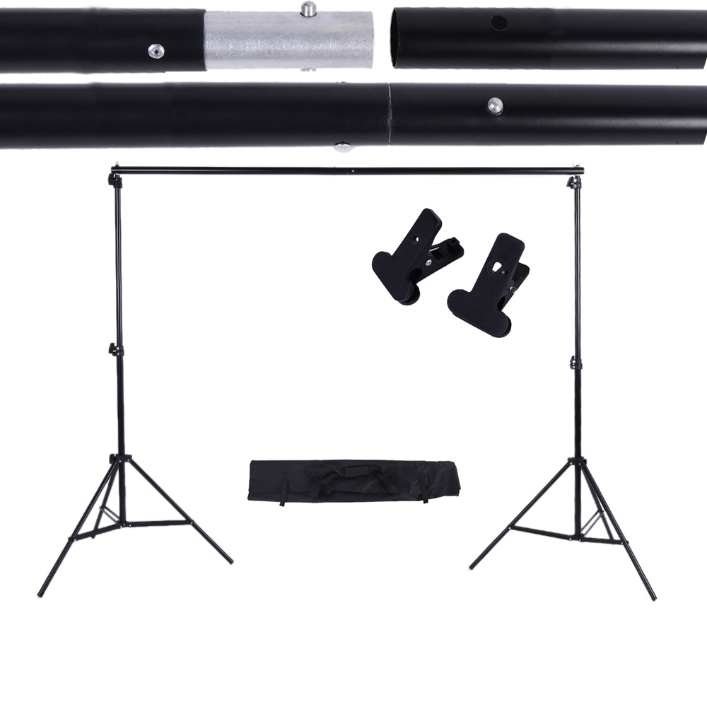 2 * 3m / 6.6 * 9.8ft Adjustable Background Support Stand Photo Backdrop Crossbar Kit with two Clamps Photography Set(China (Mainland))