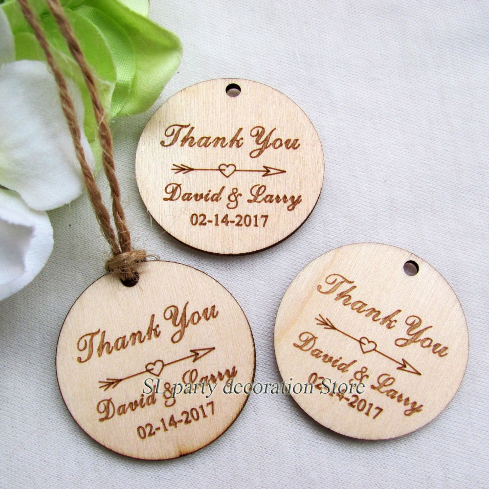 Wholesale Personalized Engraved Thank You Wedding Tags Round Circle ...