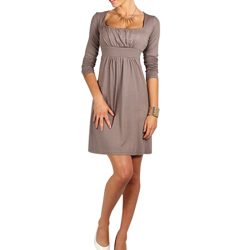 DSGS 5 x ( NEW STYLE autumn Casual Dress Long Sleeve Party Dresses Sexy Dress Light tan S(China (Mainland))