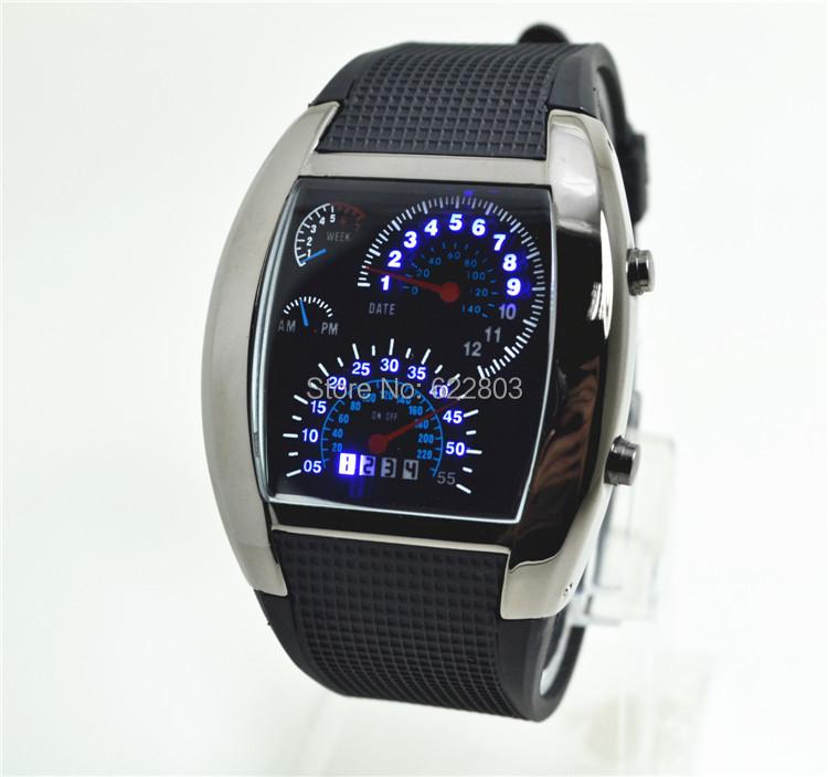 Wholesale 100pcs/lot Abco Tech LED Watch Sector Sports Car Meter Dial Men WristWatches<br><br>Aliexpress