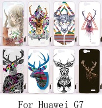 2015 New arrivel DIY good selling  hard painting back protective case with Lovely Deer for Huawei Ascend G7 C199