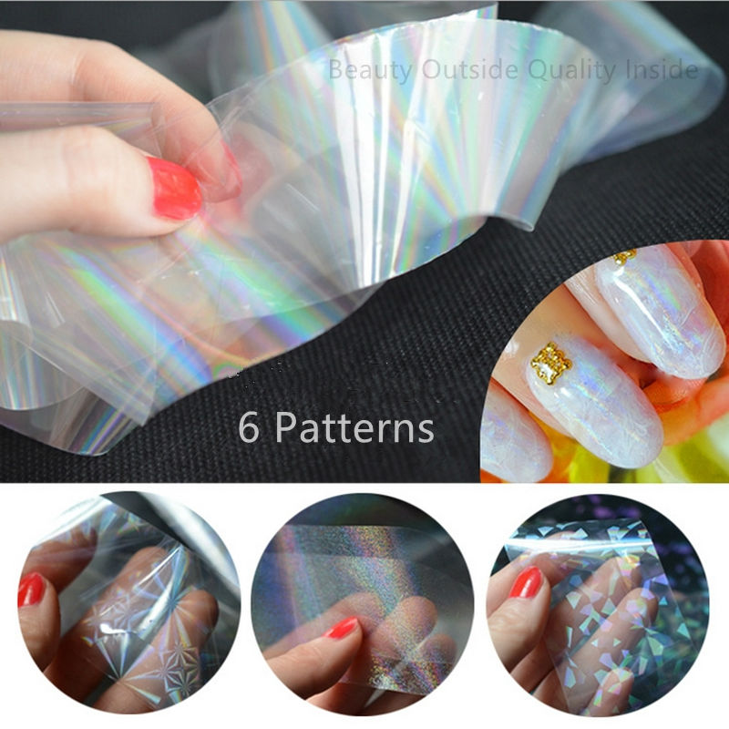 120cm Holographic Nail Foils Wraps Starry Sky Glitter Nail Art Transfer Stickers 6 Patterns(China (Mainland))