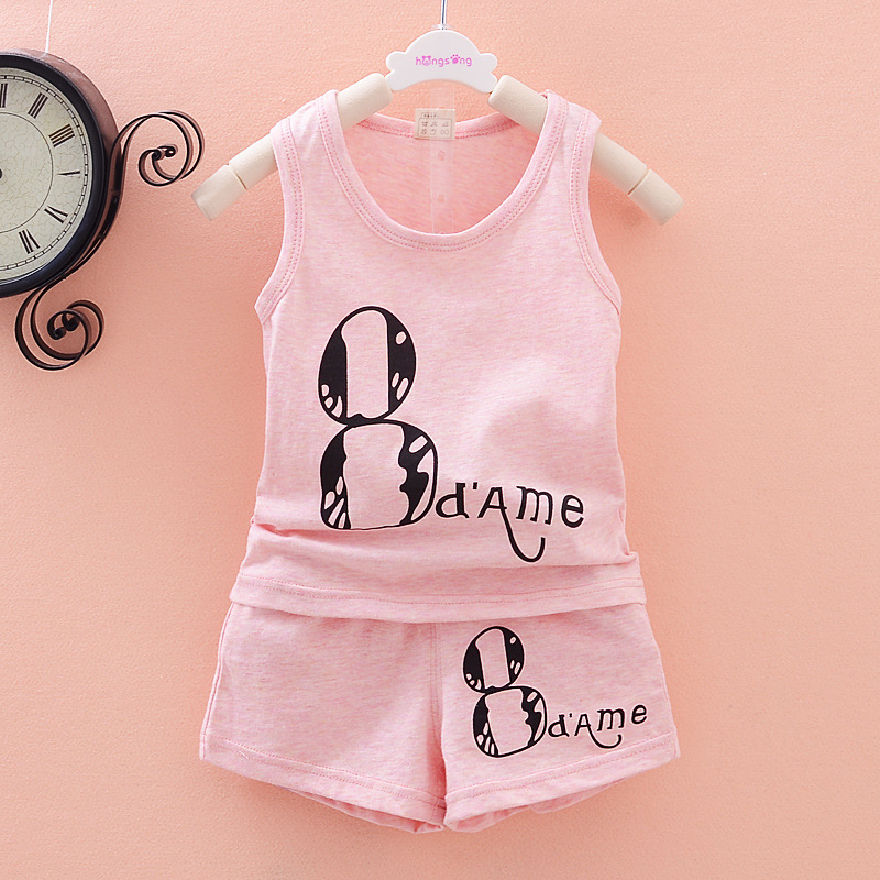 HOT 2015 new children clothing set kids boys Number 8 Design Fashion Vest + shorts two piece clothing set Family Cloth set(China (Mainland))