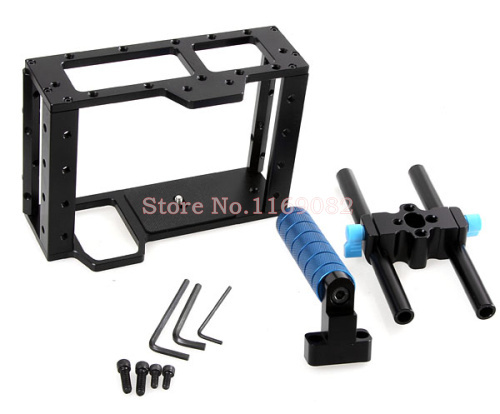 Фотография DSLR Camera Cage Top Handle 15MM Rod System For Video Camera Can&n 5D2 7D 60D Flash Speedlite Free Shipping+Tracking Number