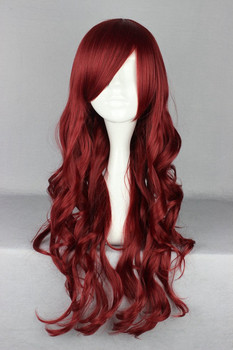 70 cm Supreme Wine Red Long Wavy Curly Cosplay Wig