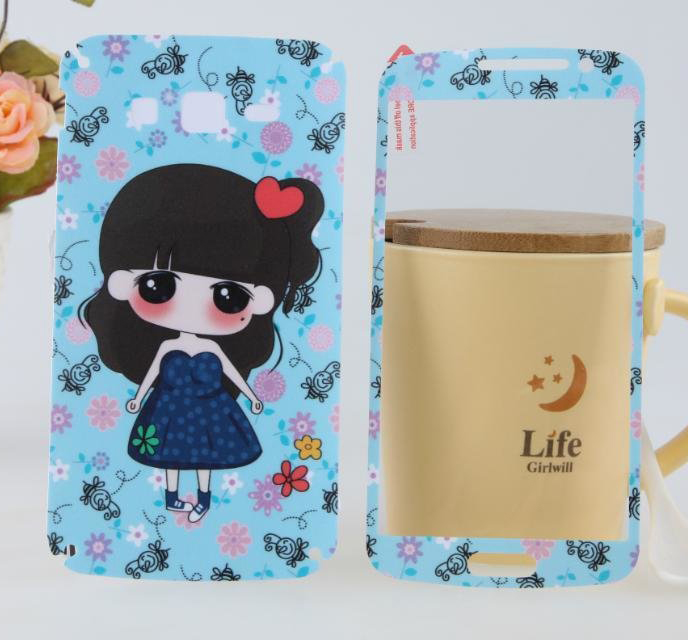 Blue dress girl brands sticker for Samsung Galaxy Grand 2 screen protector Grand2 G7106 G7108 cell mobile phones cover film(China (Mainland))