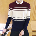Men s sweaters 2016 spring and autumn men s spell color round neck sweater plus size