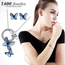 T400 trendy made with swarovski elements crystal necklace and earrings set,for women,Butterfly bjioux #1780/8200,free shipping(China (Mainland))