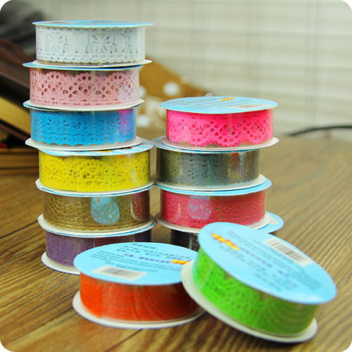 2 X Hot Lace Roll DIY Scrapbooking Paper Decorative Sticky Paper Masking Tape Self Adhesive 9 Colors(China (Mainland))