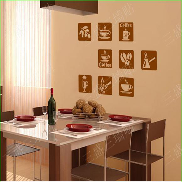 Living Room Wall Decals Kitchen Wall Decor Dining Room Decor Coffee Logo Glass Door Decor Window Sticker Removable Murals Art(China (Mainland))
