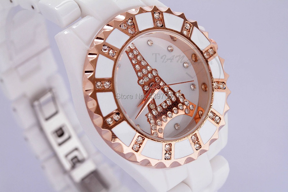new authentic bracelet Ceramic Band watch Gear shape dial lover's watches Rhinestone Water resistance(China (Mainland))