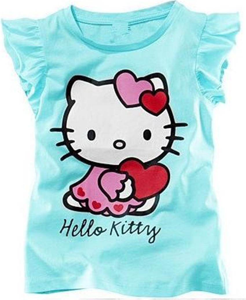 New 2014 Baby Girls Hello Kitty Short Sleeve T shirt Children Summer Clothes Kids T-shirt(China (Mainland))