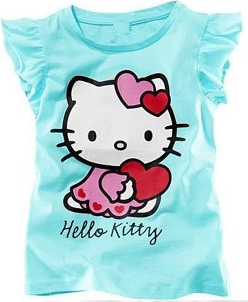 New 2014 Baby Girls Hello Kitty Short Sleeve T shirt Children Summer Clothes Kids T-shirt(China (Mainland))