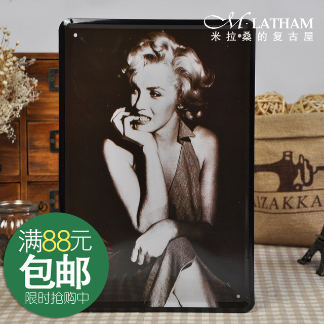 Vintage metal painting decorative painting fashion poster painting monroe series