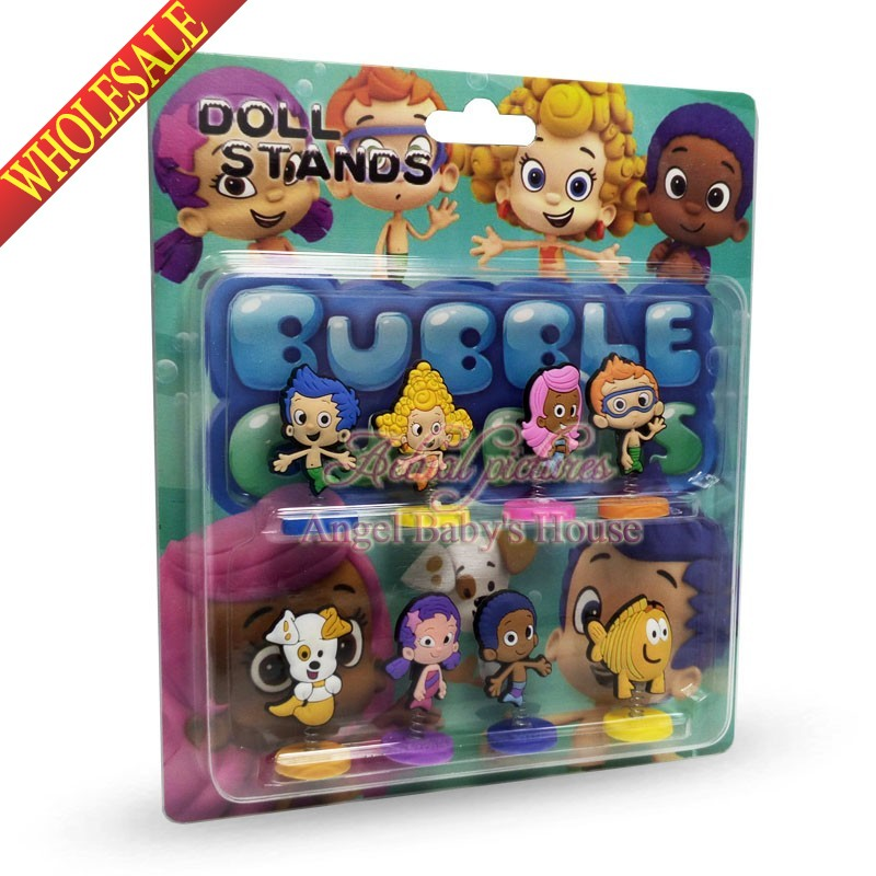 NEW Cartoon PVC Bubble guppies spring doll toy Car/Automobile decoration home decoration kids exquisite toy party favors/gifts(China (Mainland))