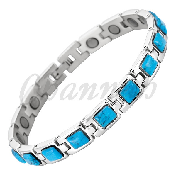 Magnetic Stainless Steel Ladies Bracelet Blue Semi-Precious Stones 2016 Jewelry Bangle Free Shipping Female via Hong Kong Post(China (Mainland))