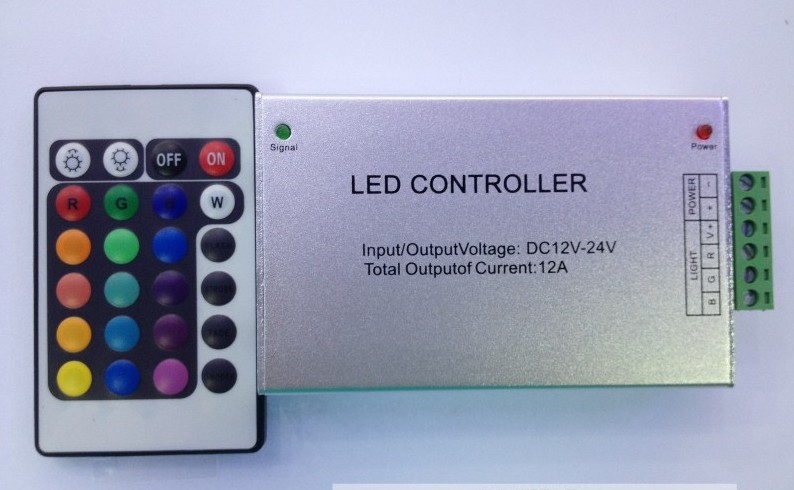 Free shipping 12-24V aluminum material LED RGB controller 12A with 24 keyboard use for 5050 or 3528 RGB strip light(China (Mainland))