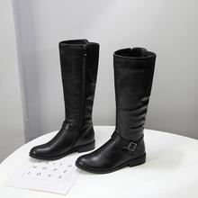 플러스 사이즈 34-43 여성 부츠 가을 겨울 긴 무릎 부츠 중반 송아지 지퍼 버클 Femininos 광장 하이힐 블랙 브라운 신발(China)
