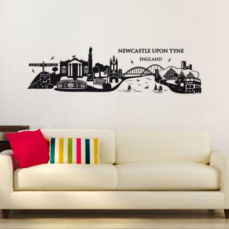 Newcastle Upon Tyne England Wall Decal Large Size Vinyl Waterproof Adhesive Building Wall Sticker Home Decor(China (Mainland))
