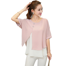 Buy New Fashion 2017 Summer Loose Casual Women Chiffon Blouses Shirt Batwing Sleeve Two Layer Ladies Tops Buttons Blusas Clothing for $9.39 in AliExpress store